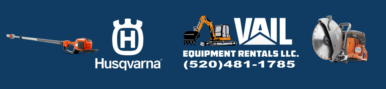 husqvarna logo and vail equipment rental logo
