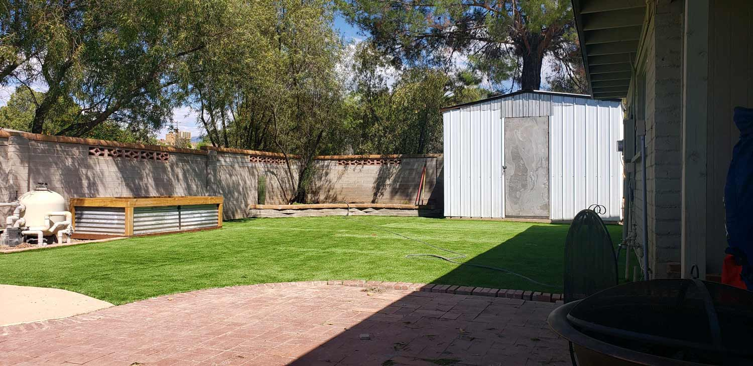 backyard with grass and white shed