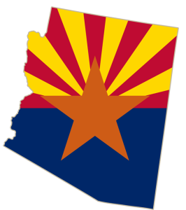 arizona flag in the shape of arizona